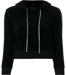 juicy couture exclusive swarovski embellished velour hoodie - black