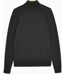 mens grey charcoal gray marl turtle neck knitted sweater
