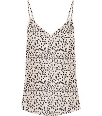 cheetah spaghetti top beige
