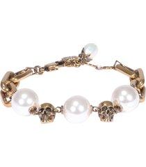 alexander mcqueen skull chain pearl bracelet