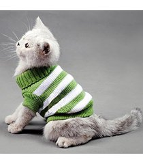 striped cats sweater aran pullover knitted clothes for small dog kitten kitty...