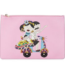 dolce & gabbana women's dg family leather pouch - pink