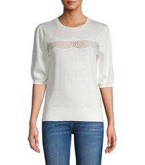 lace front cotton-blend sweater