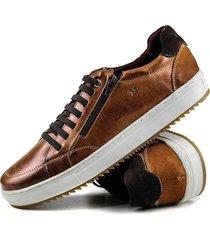 sapatênis casual tchwm shoes 4051 zíper couro adulto