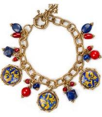 patricia nash gold-tone bead & charm link bracelet