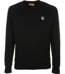 maison kitsuné grey fox head patch classic sweatshirt
