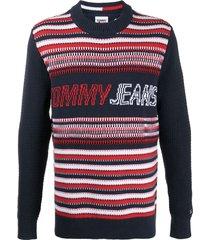 tommy jeans geometric knit jumper - blue
