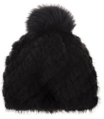 max mara delia beanie in black fur