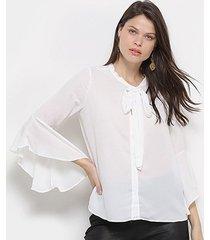 camisa facinelli manga 3/4 decote amarração botões feminina