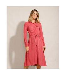 vestido chemise de viscose com bolsos e amarração midi manga longa rosa