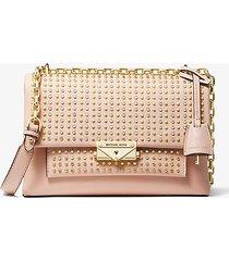 mk borsa a spalla convertibile cece media in pelle con borchie - rosa tenue (rosa) - michael kors