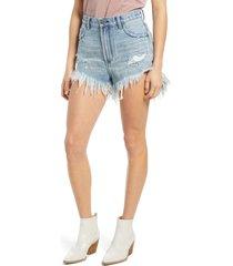 women's one teaspoon outlaws cutoff denim shorts, size 23 - blue