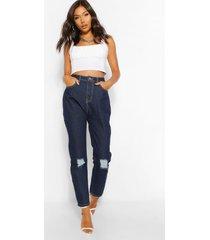 versleten mom jeans met hoge taille, indigo