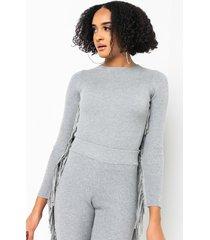 akira that fringe fringe knit crop top