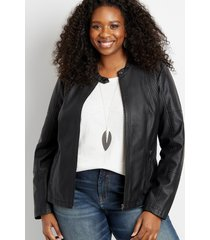 maurices plus size womens black basic faux leather jacket