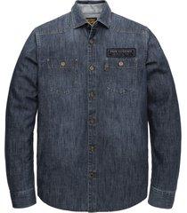 pme legend psi206231 590 long sleeve shirt denim fabric with badges blue