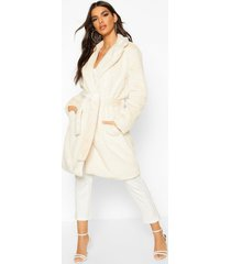 belted faux fur robe coat, cream