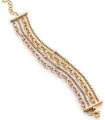 multi-strand rose & yellow goldtone stainless steel bracelet