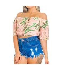 cropped top feminino ciganinha blusa decote v nstore tropical-rosa