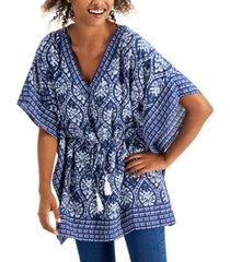 charter club petite cotton printed kimono, created for macy's