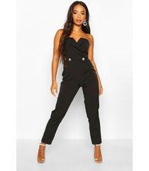 petite diamante trim strapless tailored jumpsuit, black
