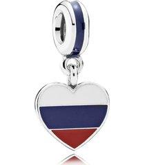 charm de prata pendente coração russo