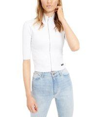 calvin klein jeans zip-front mock-neck top