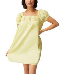 women's woven erica short sleeve mini tunic dress