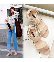 correa cruzada sandalias de tacón grueso para las mujeres verano zapatos