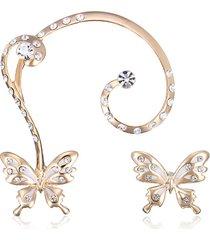 orecchini a chiodo a clip a farfalla con 18k oro placcato e strass