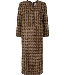coohem gun club tech tweed dress - brown