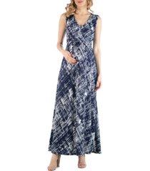 24seven comfort apparel maternity brushstroke print empire waist maxi dress
