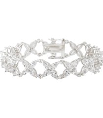 nina floral marquis cubic zirconia link bracelet in white/silver at nordstrom