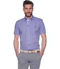 campbell campbell casual shirt met korte mouwen paars
