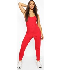 basic viscose strappy cami jumpsuit, red