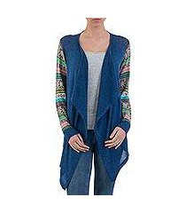 cotton blend cardigan, 'blue southern star' (peru)