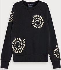 scotch & soda sweater met textuur, lange mouwen en artwork