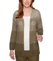 alfred dunner petite cedar canyon ombre pointelle cardigan