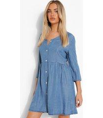 gesmokte chambray jurk met lange mouwen, blue