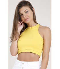 top cropped feminino básico halter neck canelado amarelo