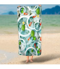 auspicious-festive-goldfish-lotus-print-3d-beach-towels-rectangle-tapestry-wall-