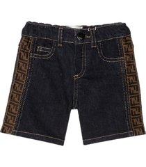 fendi navy ff denim shorts