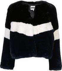 apparis brigitte panelled faux-fur jacket - black