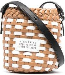 maison margiela woven pouch shoulder bag - neutrals