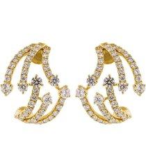 graziela 18kt yellow gold diamond cage earrings