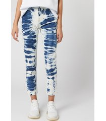 msgm women's bleached jeans - blue/ white - w26