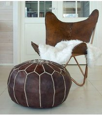 moroccan pouf dark leather ottoman footstool high quality best price top seller