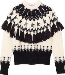 deidra norway patchwork sweater in natural white/blue