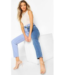 high rise contrast mom jeans, blue