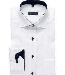 eterna overhemd comfort fit wit gestipt contrast